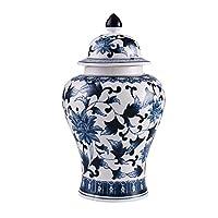 青と白の古典的な装飾品、手描きのセラミックジャー、家の装飾のための家の装飾塗装ストレージジャーワインラックデスクリビングルーム