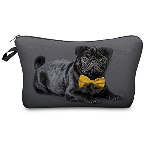 Fringoo® Mädchen Jungen Federtasche, Einhorn-Design, Make-up-Tasche L Black Pug With Bow Tie