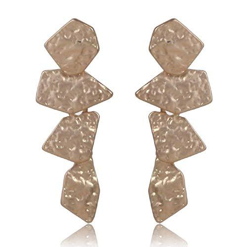 Pendientes pequeños de diamantes de imométricos de plata de bronce clásico para mujeres Pendientes de tallado exquisitos-Oro