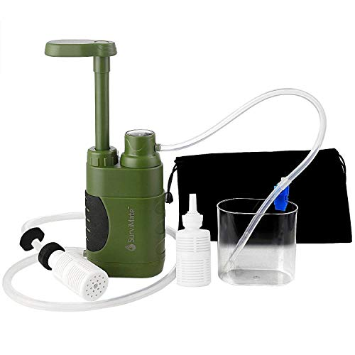 SurviMate Portable Water Filter Pump for Hiking Camping Travel...