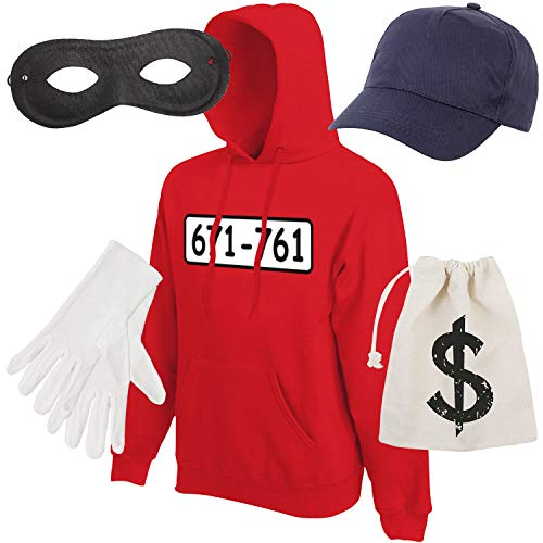 Shirt-Panda Herren Hoodie Panzerknacker Kostüm + Cap + Maske + Handschuhe Verkleidung Karneval SET06 Hoodie/Cap/Maske/Handschuhe/Beutel 164 (Kindergröße 14-15 Jahre)