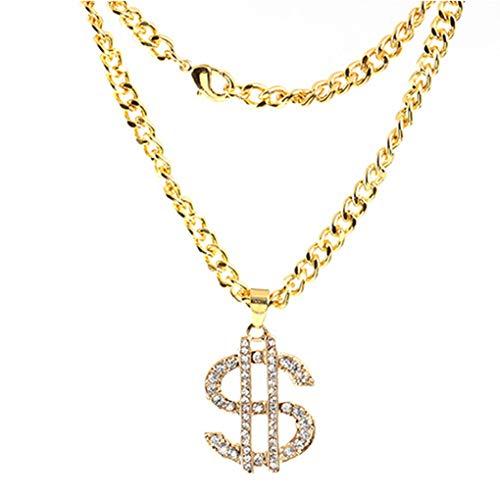 Techting Shinning strass soldi del dollaro Segno pendenti della lega collane lunghe per Hip Hop uomini delle donne