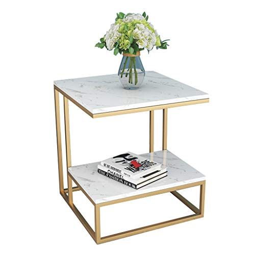ZRN Square Side End Table for living room coffee table with storage White marble table top, 17.7×17.7×19.7inch
