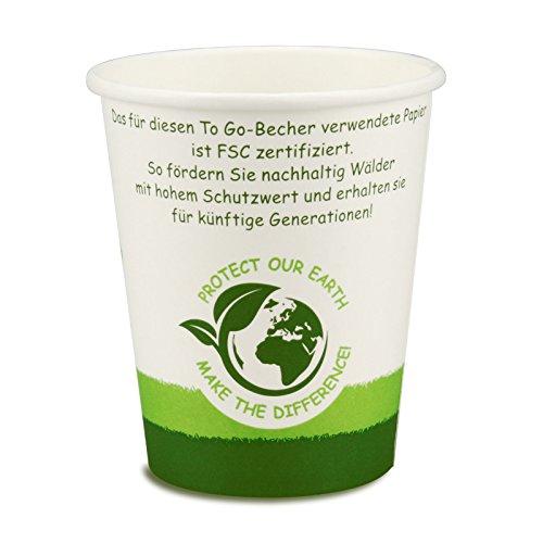 pack2go 1000 Premium Kaffeebecher - 8oz, 200ml, FSC-Zertifiziert, Coffee to go Becher Green Nature, Heißgetränke-Pappbecher, Hot Cup aus Hartpapier, toGoPappbecher