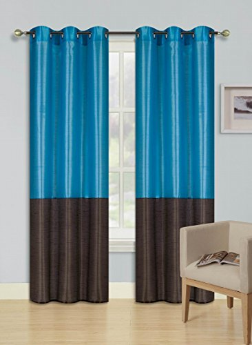 GorgeousHomeLinen (EID) 1PC Turquoise - Brown 2 Tone Faux Silk Window Curtains Foam Lined Blackout Panel Top Silver Grommets in 4 Sizes (108')