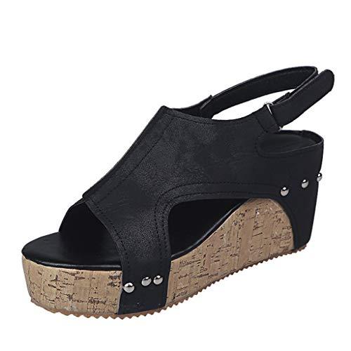 TOPEREUR Damen Sandalen mit Keilabsatz und Kork-Plateausohle, Frauen Sommerschuhe Bequeme Sandalette Offener Zeh Sommersandalen Schöne Sommer Sandaletten (Schwarz, 39EU)