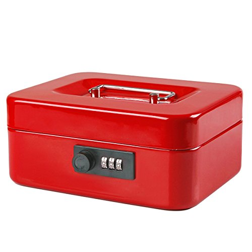 Jssmst Small Cash Box with Combination Lock – Durable Metal Cash Box with Money Tray Red, 7.87 x 6.3 x 3.35 inches, CB0703M