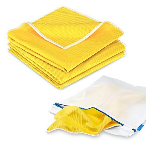 POLYCLEAN 3x Koi-Tuch für Glas, Scheiben und Edelstahl - leistungsstarkes Fenstertuch (40 x 40 cm, gelb, 3 Stück) – Scheibentuch inklusive 1x gratis Wäschesack (38 x 30 cm)