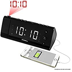 Magnasonic USB Charging Alarm Clock Radio with Time Projection, Battery Backup, Auto Time Set, Dual Alarm, 1.2 LED Display for Smartphones & Tablets (EAAC475W)