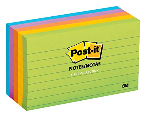 Post-it Notes, 3 in x 5 in, 5 Pads, America's #1 Favorite Sticky Notes, Jaipur Collection, Bold Colors (Green, Yellow, Orange, Purple, Blue), Clean Removal, Recyclable (635-5AU)