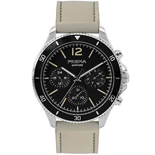 Prisma Ace Herren Uhrenarmband Edelstahl mit Quarzwerk und Creme Leder Armband - Multifunction P.1320