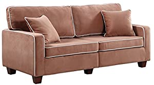 This modern extra large love seat is conveniently packed and shipped via FedEx right to your door! This couch is packaged in a box for easy assembly and transportation for easy to maneuver up or down the stairs Sturdy hardwood frame with soft velvet ...