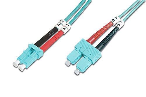 DIGITUS LWL Patch-Kabel OM3 - 2 m LC auf SC Glasfaser-Kabel - LSZH - Duplex Multimode 50/125µ - 10 GBit/s - Türkis