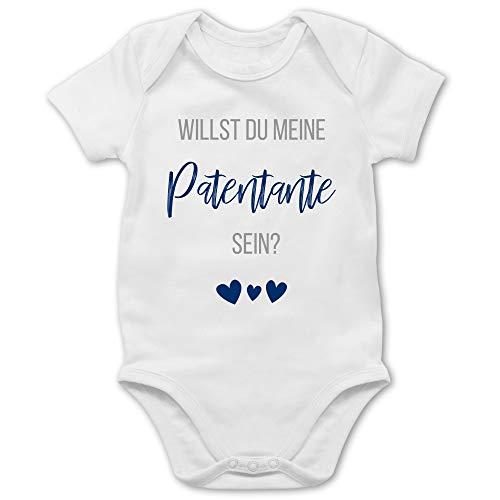 Shirtracer Strampler Motive - Willst du Meine Patentante Sein? Marine - 1/3 Monate - Weiß - Body Patentante - BZ10 - Baby Body Kurzarm für Jungen und Mädchen