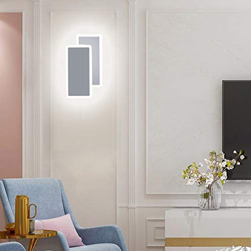 BFYLIN Lampara pared LED, 14W Luz Blanco Frío, Apliques pared Interior Montado en la pared, para Sala de Estar Pasillo Dormitorio, 220V (Blanco-14w Blanco Frío)