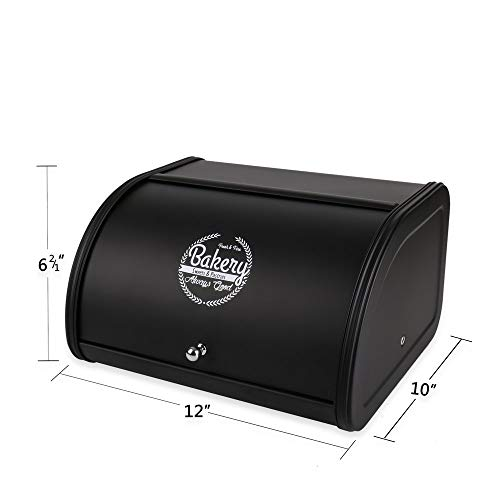 Hot Sales X458 Black Metal Bread Box/Bin/kitchen Storage Containers with Roll Top Lid (Black)