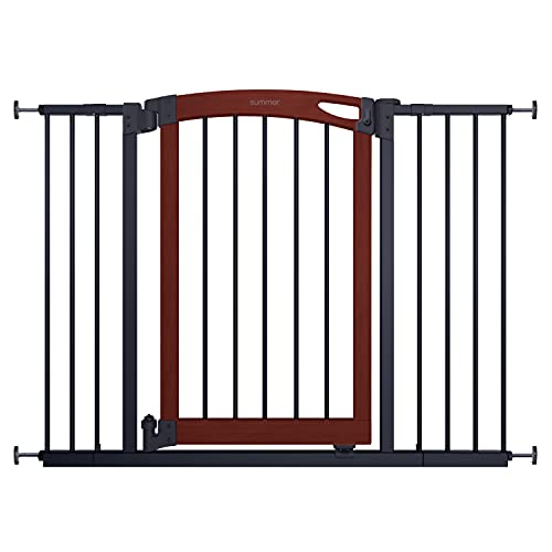 """Summer Essex Craft Safety Baby Gate, Solid Wood Cherry Stain Arched Doorway and Charcoal Gray Metal Frame – 30"""" Tall, Fits Openings up to 28"""" to 42"""" Wide, Baby and Pet Gate for Doorways and Stairways"""