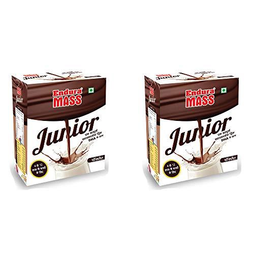 Endura Mass Junior, Weight Gainer | Mass Gainer | Mass Gainer for kids, (Chocolate) (Pack of 2) (200g + 200g)