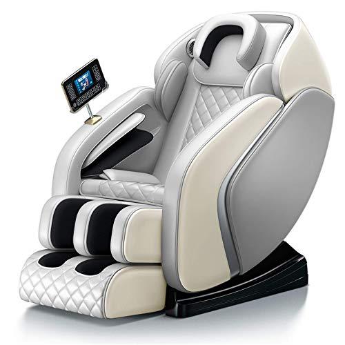 JLKDF Silla de Masaje SL-Track, Silla reclinable de Gravedad Cero con masajeador de pies Bluetooth 4D Air Body Amasado, Gris
