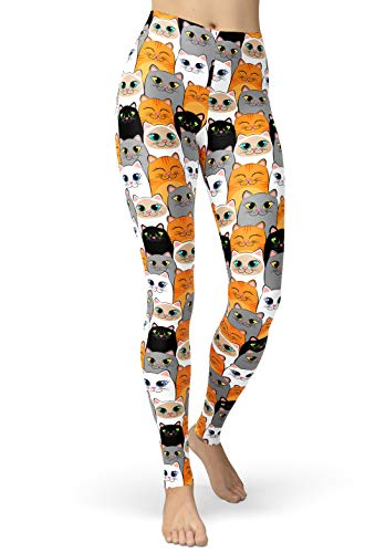 lulucheri Cartoon Leggings Damen Print Tier Libelle Kaninchen Eule Katzen Leggings Design Yoga Laufen Hosen Mädchen Mode Stretch Lang Sporthosen, Große Augen Katze, S/L (Taille 56cm-76cm)