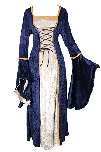 Womens Renaissance Medieval Costume Irish Lace Up Dress Game of Thrones Style Cosplay Over Long Dresses (Medium, Navy)