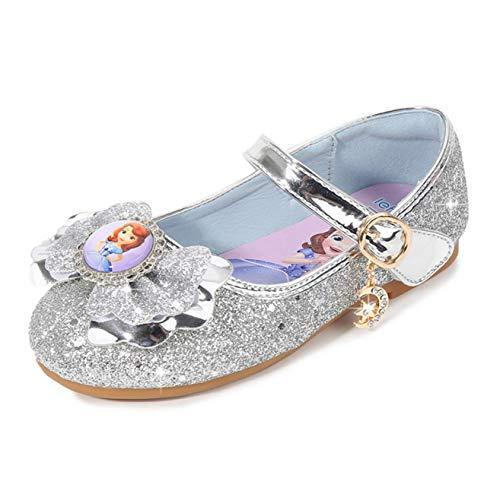 STRDK - Zapatos de fiesta para nias, princesas y princesas, diseo de princesa, con purpurina y lentejuelas, color azul y rosa, color Plateado, talla 36 EU