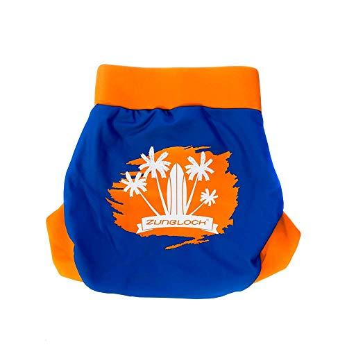 Schwimm- oder Badewindel mit UV-Schutz Zunblock UPF 50+ (blau/orange, S (3-6 Monate) (blau/orange, XL (18-24 Monate))