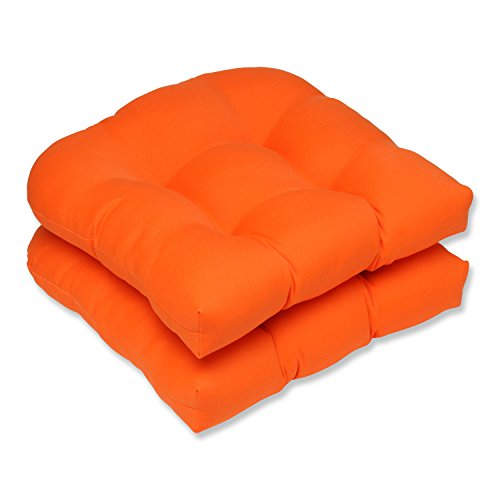 Pillow Perfect Outdoor/Indoor Sundeck Tufted Seat Cushions (Round Back), 19' x 19', Orange, 2 Pack