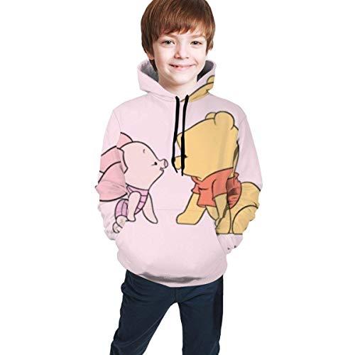 maichengxuan Pooh Bear Modischer 3D-Digitaldruck, Teenager Kapuzenpullover Jugend Hoodie Bequem Sweatshirt für Jungen/MädchenTeen Kapuzenpullover Gr. 7-8 Jahre, Schwarz