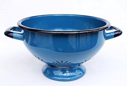 DanDiBo Abtropfschale Sieb 553C - Blau emailliert 22 cm Emaille Abtropfsieb Küchensieb Email