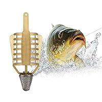 SAKATAS ケージトラップ - プラスチック鯉釣りルアーケージタックル 鯉釣りフィーダー餌ケージ鯉ケース釣りインライン方法餌フィーダーターミナルタックルアクセサリー ABSおよび純鉛 (20g 30g 40g 50g) (イエロー, 20g)