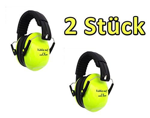 ☊ 2 PAAR Kiddie Muff® Kinder Ohrenschützer Gehörschutz für Kinder und Jugendliche Kapselgehörschutz 26dB Dämmwert in Neongelb ☊