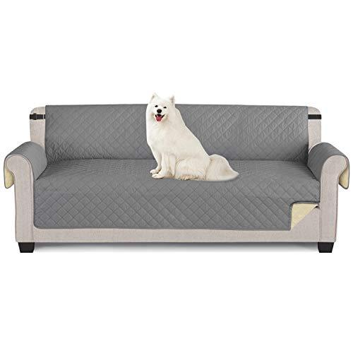 TAOCOCO Funda de sofá Impermeable Funda de cojín de protección para Mascotas Funda de sofá antisuciedad (Gris Claro/ 4 Plazas 195 * 218cm)
