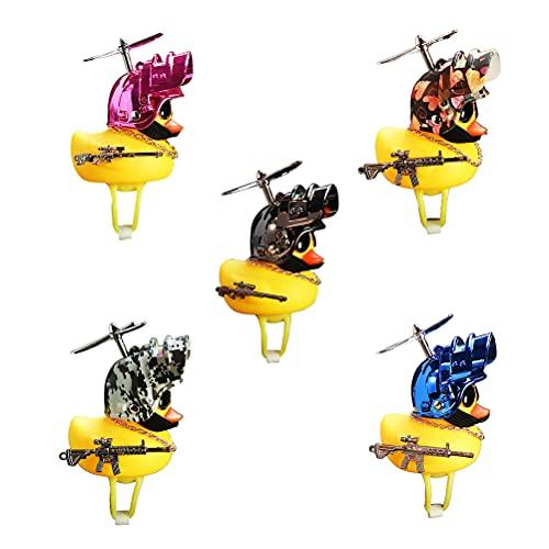 Wawogic Kaczka gumowa kaczka zabawka śruba powietrzna kask, mała żółta kaczka rower jazda jazda na rowerze dekoracja światła rower akcesoria dla dorosłych dzieci