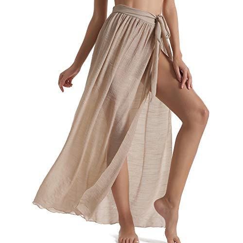 Beach Sarongs for Women Bathing Suit Swim Bikini Cover Up Wrap Maxi Long Skirt (Khaki-US 4-12)