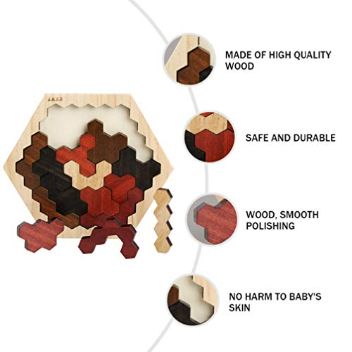 VORCOOL木製六角形パズルジグソー脳ティーザーおもちゃ3dロシアブロックゲーム形状パターンブロックタングラムおもちゃ幾何学ロジックiqステム子供向け教育玩具
