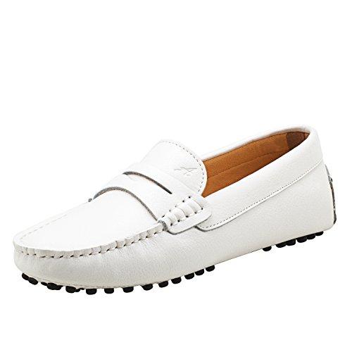 Shenduo Damen Driving Mokassin Leder Schuhe Casual Slipper Sommer Halbschuhe Freizeit D7052 Weiß 37