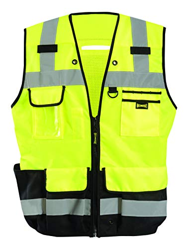 OccuNomix LUX-HDSBK-Y4X Heavy Duty Solid/Mesh Surveyor Vest with Zipper & Fall Protection D-Ring, 8 Pockets, Class 2, 100% ANSI Polyester, 4X-Large, Yellow (High Visibility)