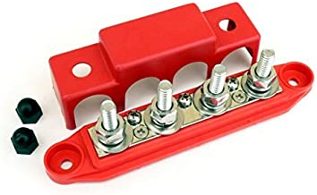 "Bay Marine BusBar – 4-Post Power Distribution Block – 3/8"" Red"