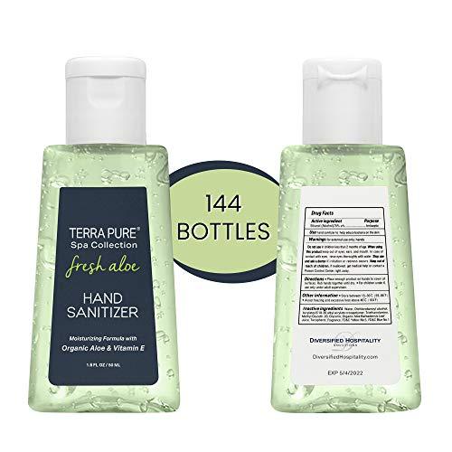 Terra Pure Hand Sanitizer Gel   75 Percent Ethyl Alcohol with Organic Aloe Vera & Vitamin E   Travel Size Bulk Hand Sanitizer   1.6 oz. 144 Bottles