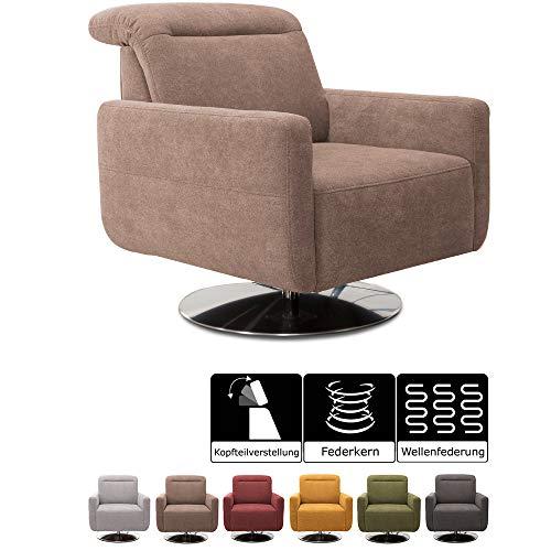 CAVADORE Sessel Gizmo / Drehsessel mit verstellbarer Kopfstütze und Federkern / 78 x 86 x 100 / Jacquard, hellbraun