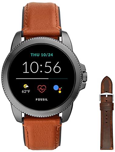 Fossil Herren Touchscreen Smartwatch 5E. Generation mit Lautsprecher, Herzfrequenz, GPS, NFC und Smartphone Benachrichtigungen + Fossil Watch Strap S221299