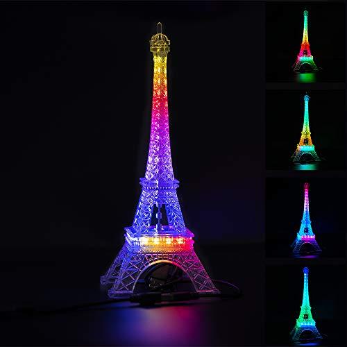 BTF-LIGHTING USB 5V Romance Torre Eiffel Luz de Noche Cambiante de Color Incorporada 9.8 Pulgadas 48 Leds SK6812 RGB Mini Luz de Noche Lámpara de Mesa Lámpara de Mesa Regalo de Cumpleaños