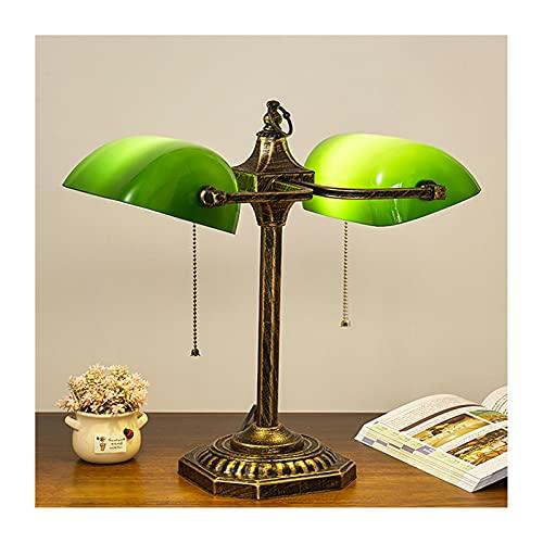 ZRN Lámpara de Mesa de Cristal de banquero Verde nostálgico Retro Lámpara de Mesa de Lectura de Estudio de Dormitorio de Doble Cabeza Luces de Noche