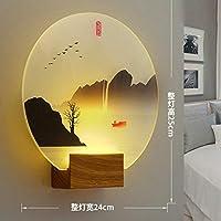 ベッドサイドウォールランプ3ライト調光器アイケア壁掛け木製ベッドサイドランプラウンドスクエア壁取り付け用燭台入口キッチン画像ウォームランプ7