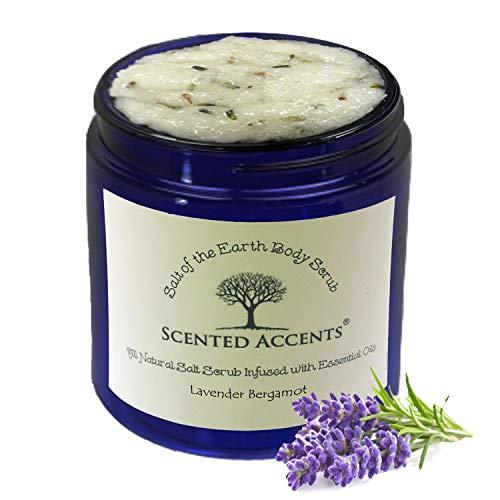 Scented Accents Lavender Bergamot Salt of the Earth Body Scrub, Fresh-Made All-Natural Essential Oil Skin Cell Exfoliating Scrub, Moisturizing Hand Scrub Vegan Body Polish for Women and Men