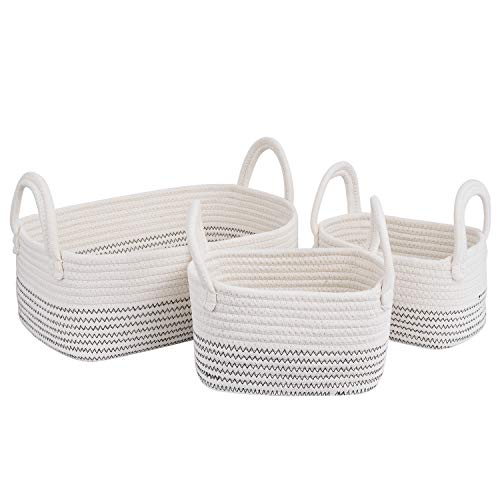 Cotton Rope Storage Baskets for Shelves Storage Bins Organizer Decorative Woven Basket With Handles for Nursery Baby Clothes, Toy, Makeup, Books, Set of 3