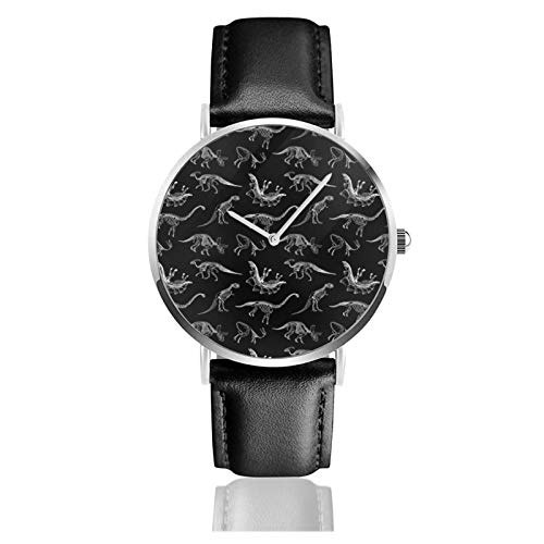 Dinosaurios Paleontología esqueletos patrón reloj de cuarzo movimiento impermeable correa de reloj de cuero para hombres mujeres simple reloj casual de negocios