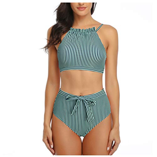 IHEHUA High Waist Push up Bikini Damen Geteilter Neckholder Oberteil Zweiteiliger Streifen Bademode Bandeau Verstellbarer Schultergurt Strandkleidung(A-Grün,36)