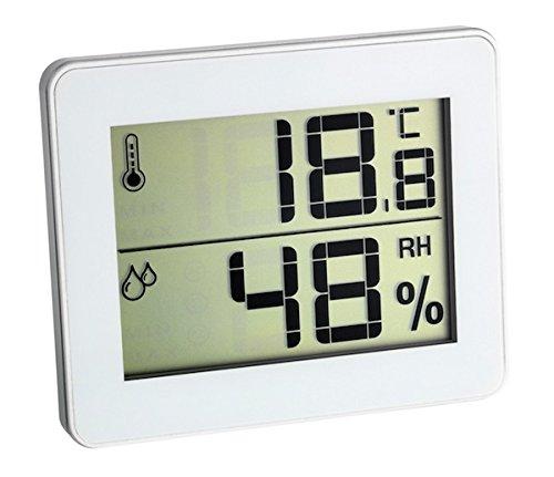 TFA Dostmann Digitales Thermo-Hygrometer, Komfortzonen-Indikator, Innentemperatur, Luftfeuchtigkeit, zur Raumklimakontrolle, weiß
